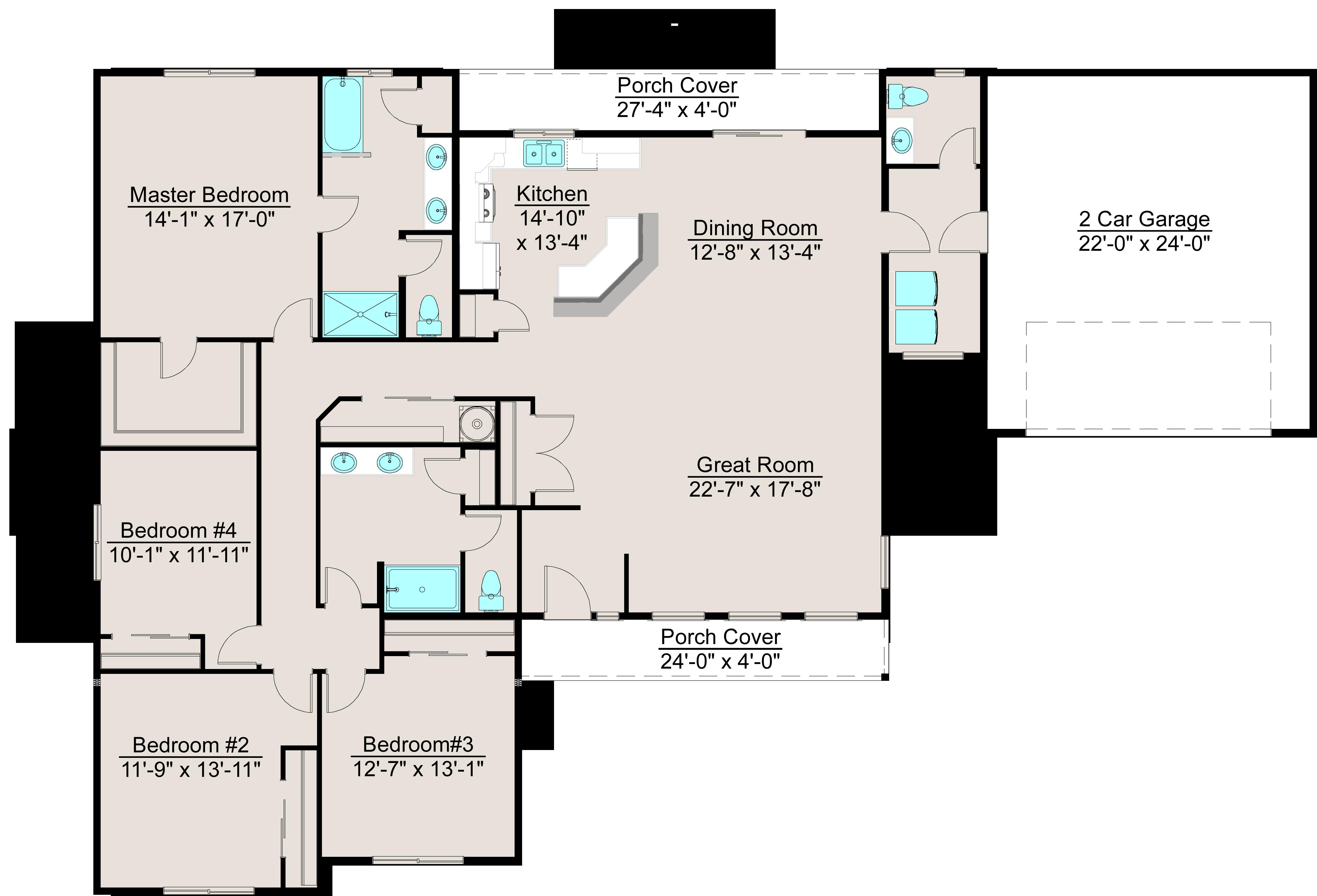 Lexar 2363 Single Level 4 Bed 2 5 Bath 2 Car Garage Floor Plans House Floor Plans Small House Plans