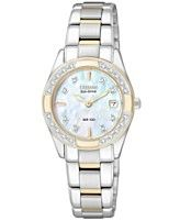 Citizen Women's Eco Drive Regent Diamond Accent Two Tone Stainless Steel Bracelet Watch 26mm EW1824-57D