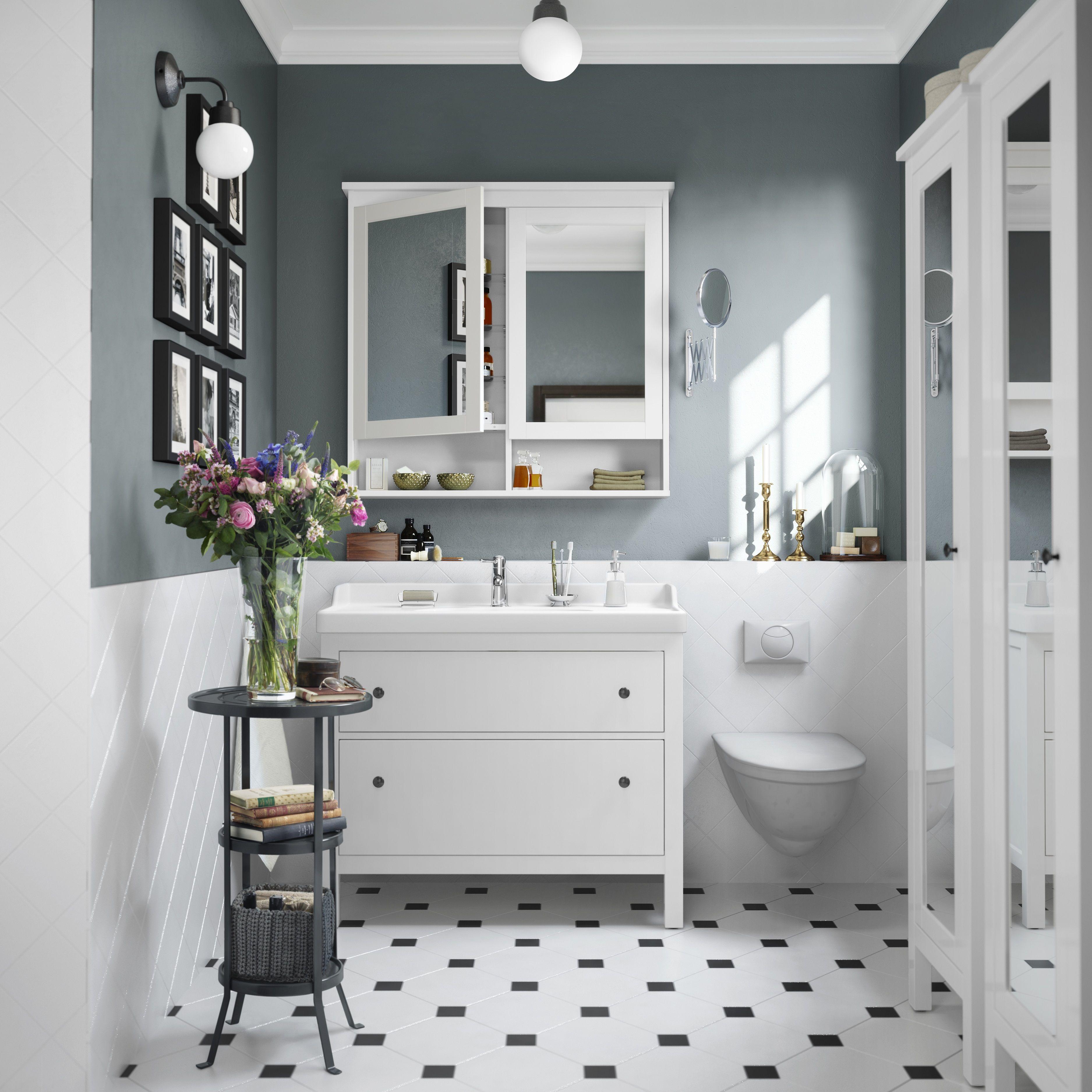 Badezimmer eitelkeiten mit lagerung hemnes  odensvik kast voor wastafel met  lades wit  bathroom