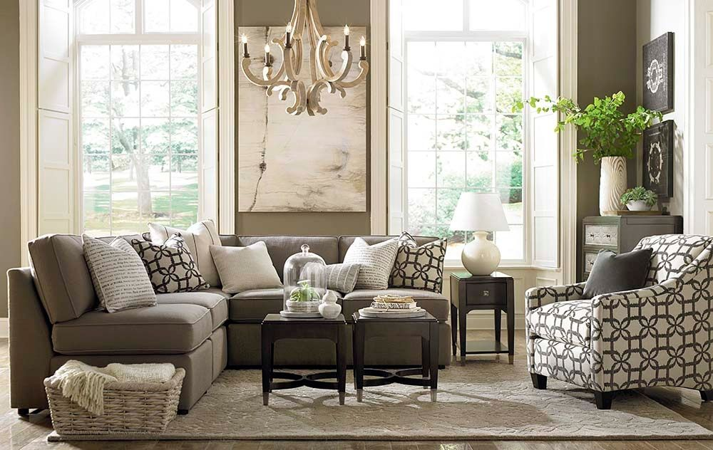 Transitional Living Room With High Ceiling Bassett
