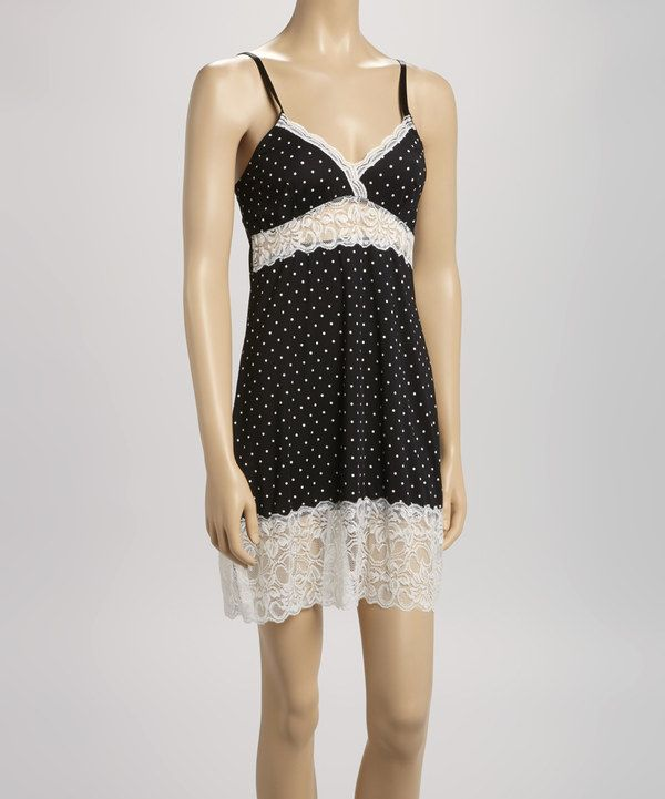 c72152c5d0ca This Marilyn Monroe Intimates Black & Ivory Polka Dot Lace Chemise - Women  by Marilyn Monroe Intimates is perfect! #zulilyfinds