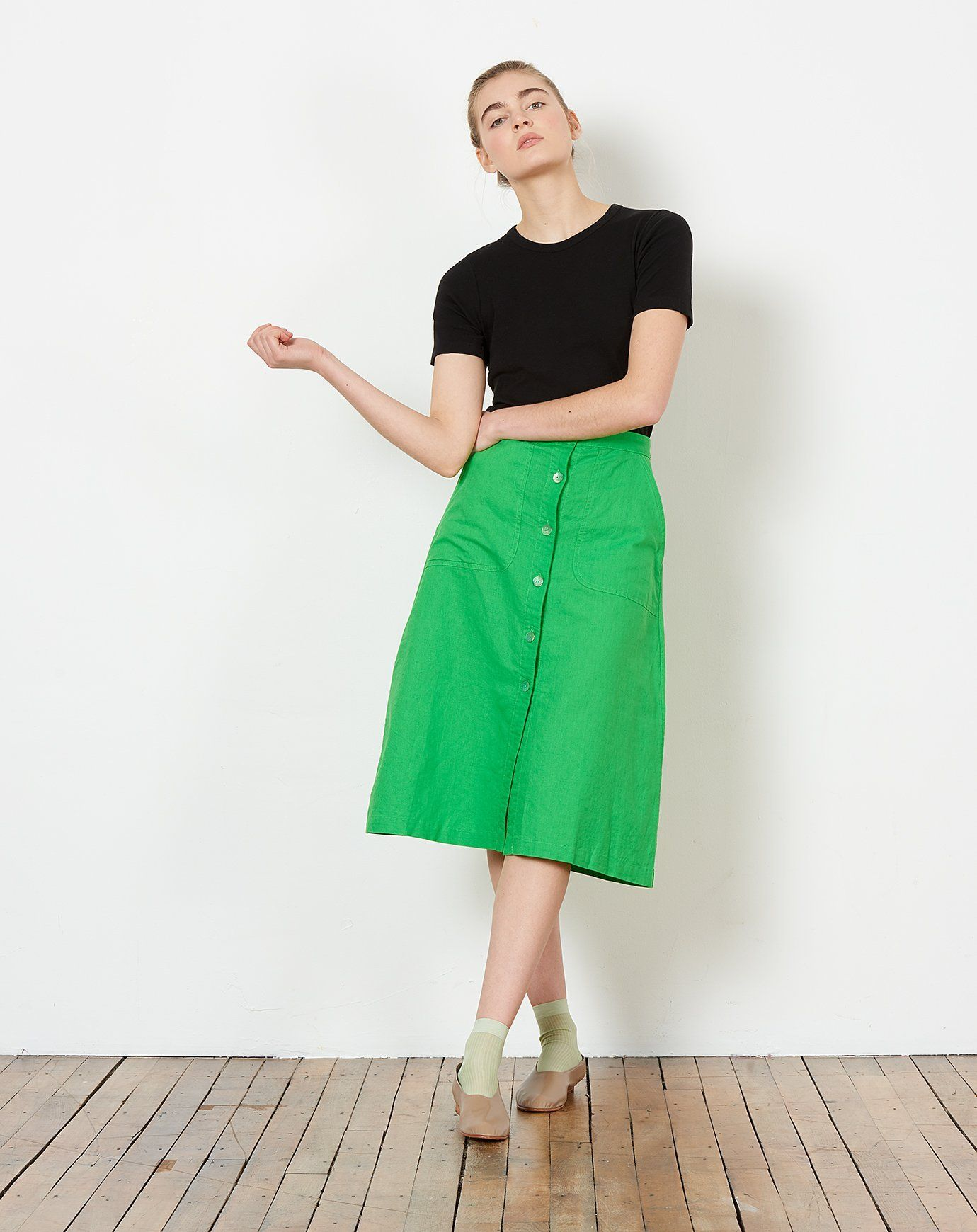 9576f85133 Rosemary Button Down Skirt in Kermit Green | the green | Rachel ...
