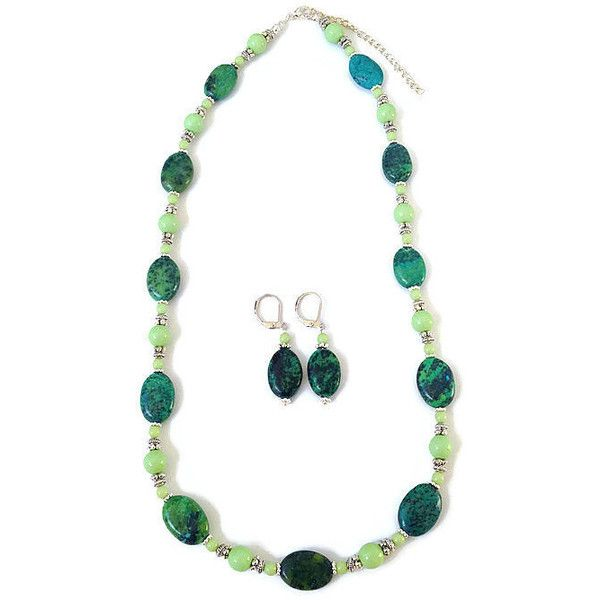 Chrysocolla Necklace Chrysocolla Earrings Chrysocolla ($18) found on Polyvore