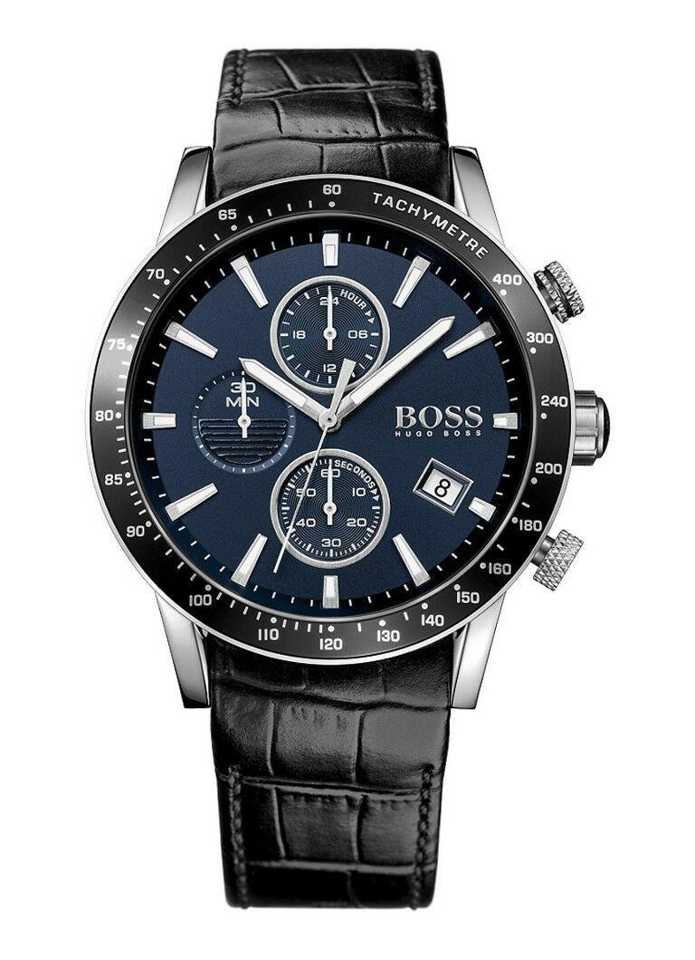 Detalles De Hugo Boss Hombre Rafale Reloj Cronografo Hb1513391 Esfera Azul Cuero Hugo Boss Watches Hugo Boss Leather Watch Strap