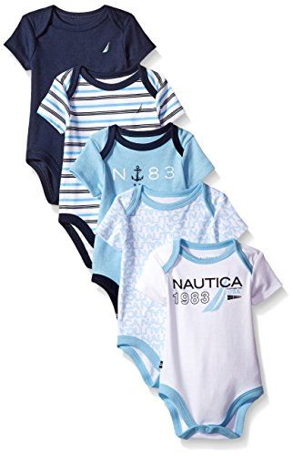 Nautica Baby Boys Newborn Five Pack Bodysuits Assorted Light Blue 0 3 Months Fashionable Baby Clothes Designer Baby Clothes Baby Clothes