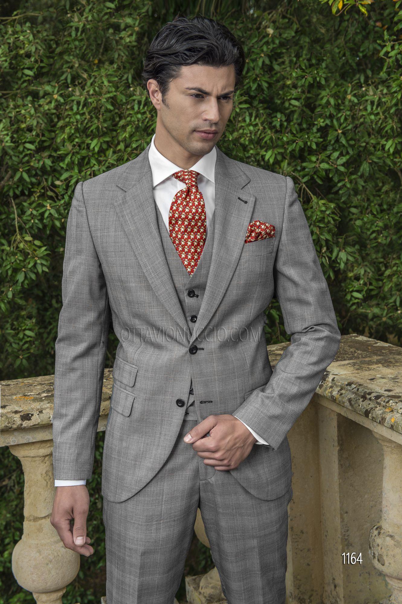 Abito sposo uomo in misto lana Principe di Galles grigio  65e03a59050