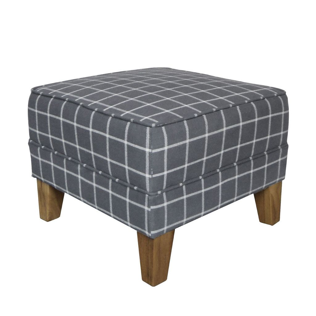 Medan footstool linen cotton rubberwood hevea grey check woven
