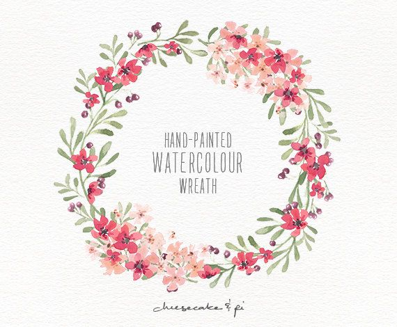 Watercolor wreath hand painted floral wreath clipart wedding watercolor wreath 1 png floral clip art wedding invitation clip art commercial use pink blossom berries cm0063f mightylinksfo