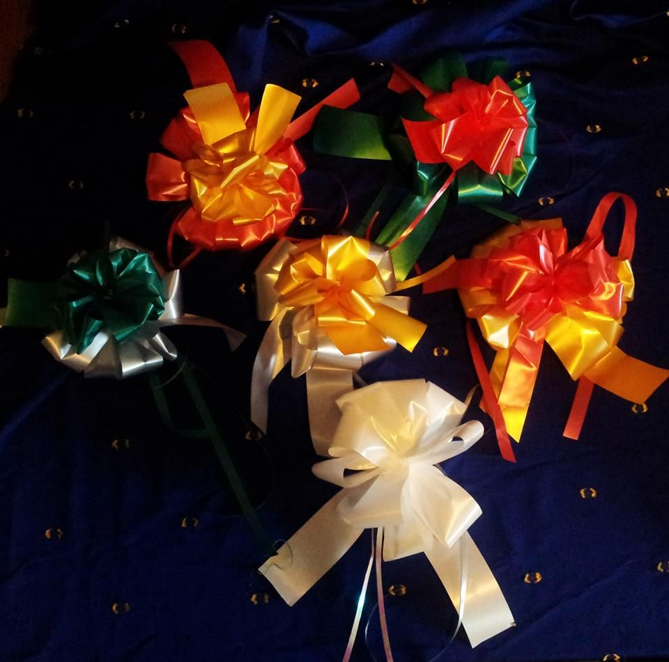 Handmade Christmas Ribbons all ready to make gifts beautiful