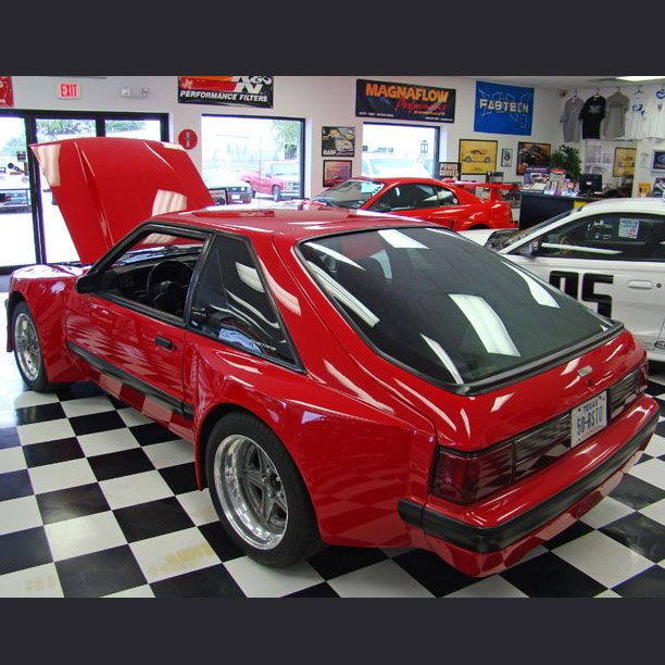 Red Ford Capri Foxbody With Widebody Jba Kit Fox Mustang