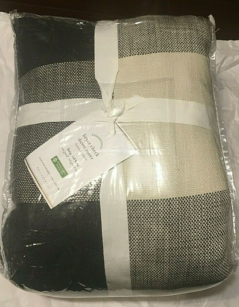 pottery barn bryce check ivory charcoal
