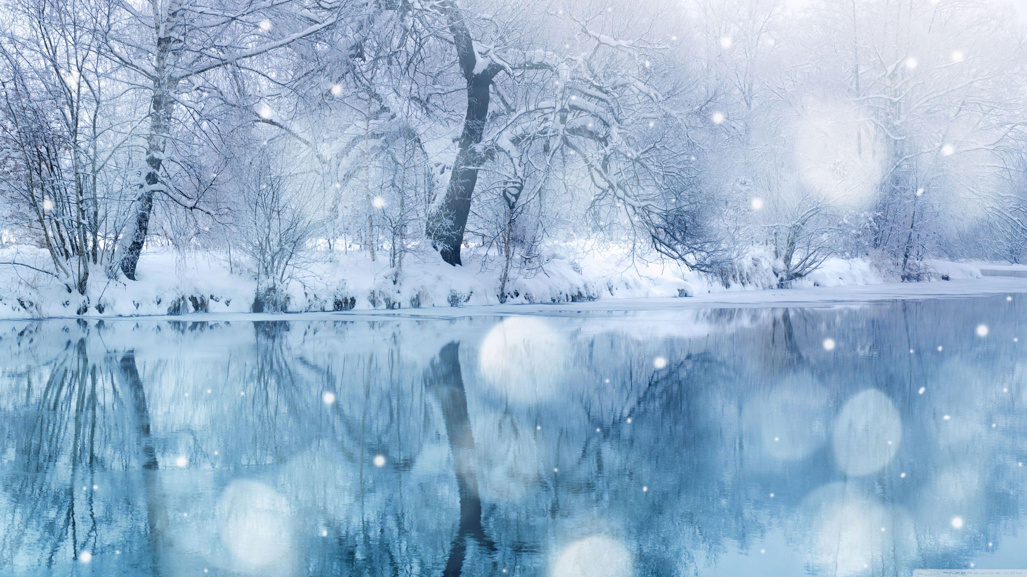 Winter Snowfall Hd Desktop Wallpaper High Definition Mobile Zima Pejzazhi Fotooboi