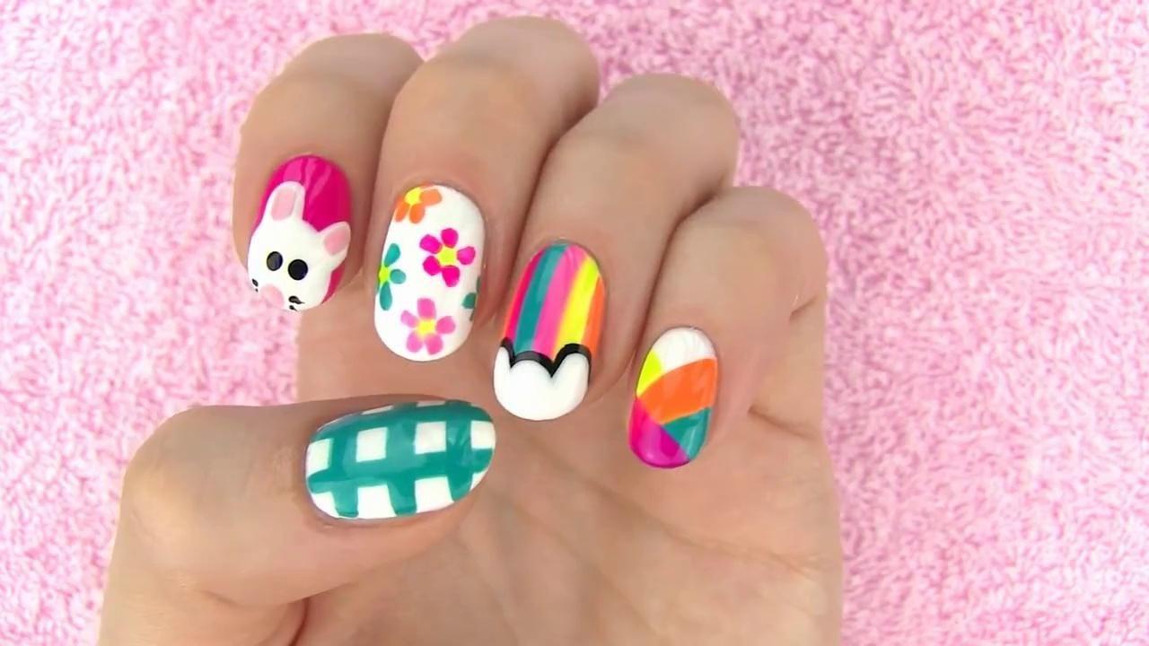 Nail Art For Short Nails For Beginners At Home Without Tools Nail Art At Home Cool Nail Designs Easy Nail Art