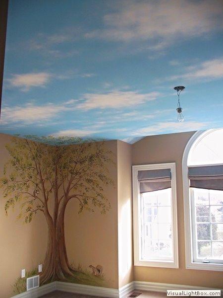 Tree Mural With Painted Sky Ceiling Sky Ceiling Kids Room Murals Ceiling Murals