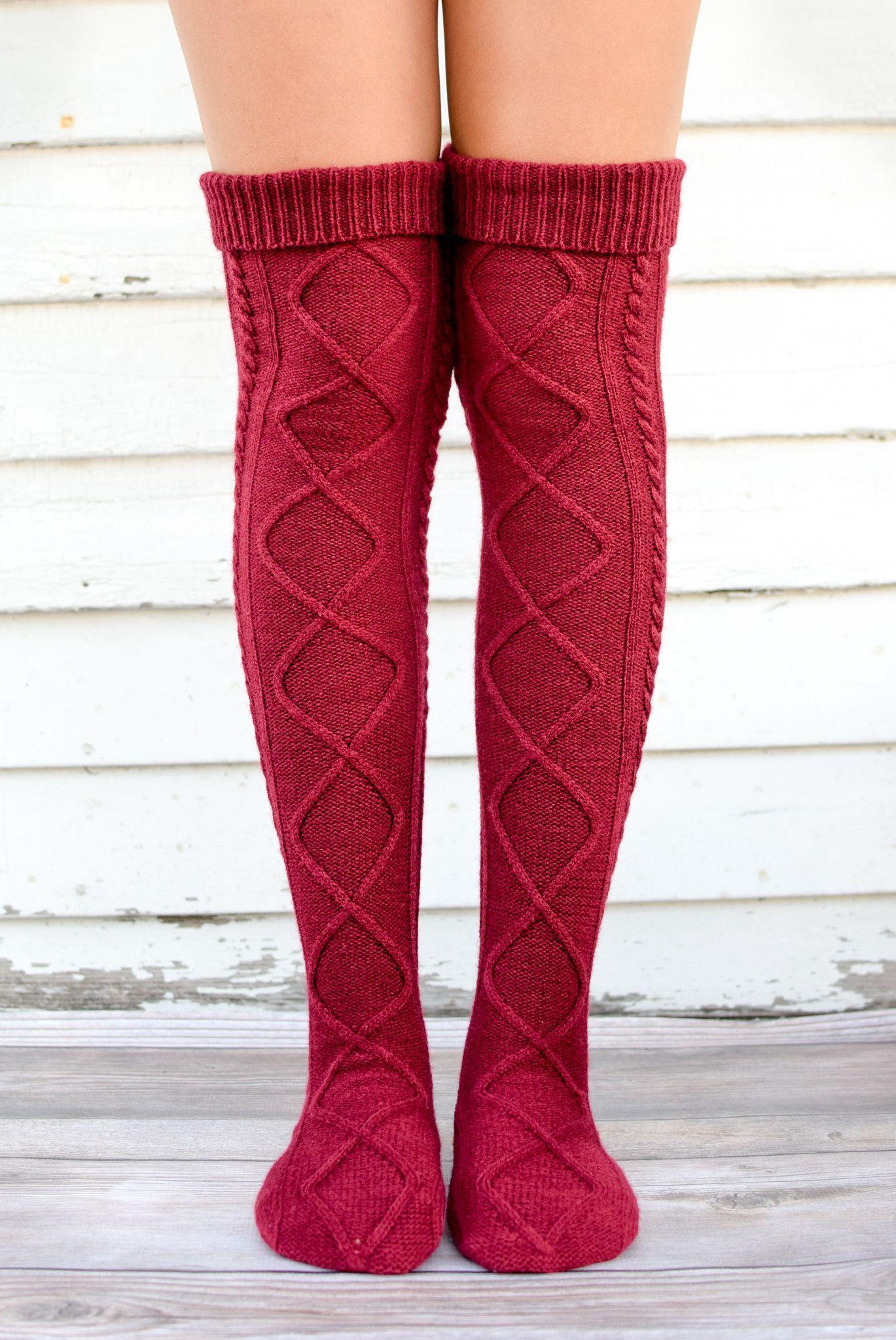 Burgundy diamond cable knit boot socks cable knitting cable and burgundy diamond cable knit boot socks bankloansurffo Choice Image