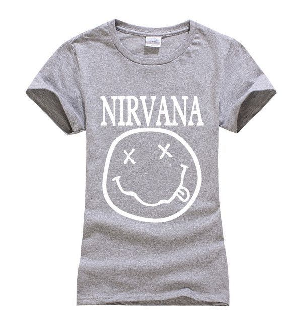 64ec34f0e 2017 summer Nirvana Smiley Face print women tshirt fashion harajuku brand  korean tee shirt femme funny punk slim black tops geek
