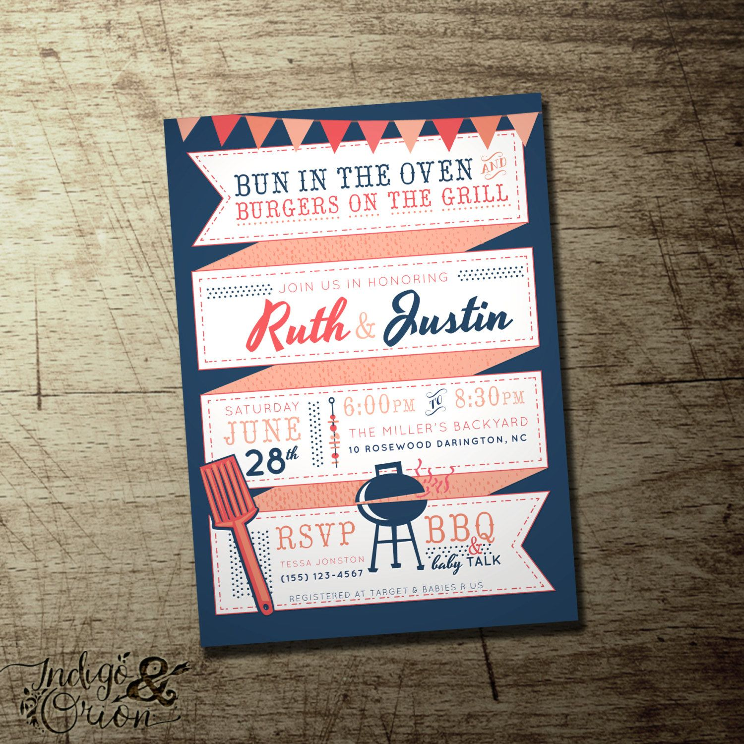 Couples Bbq Baby Shower Invitation Bun In The Oven Burgers
