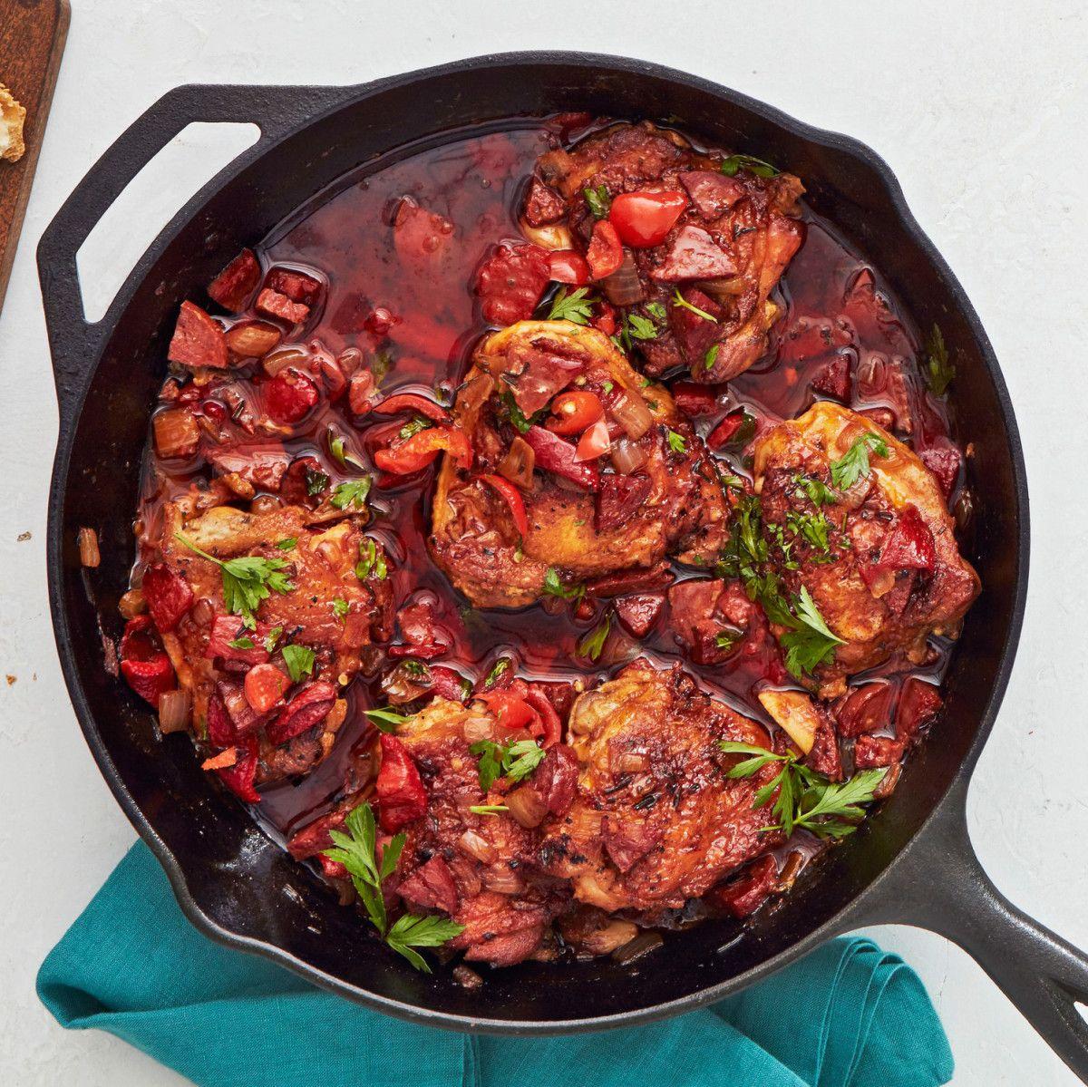 Spanish Chicken Thighs Chorizo With Rosemary Lemon Rachael Ray Every Day Spanish Chicken Chicken Thighs Chorizo