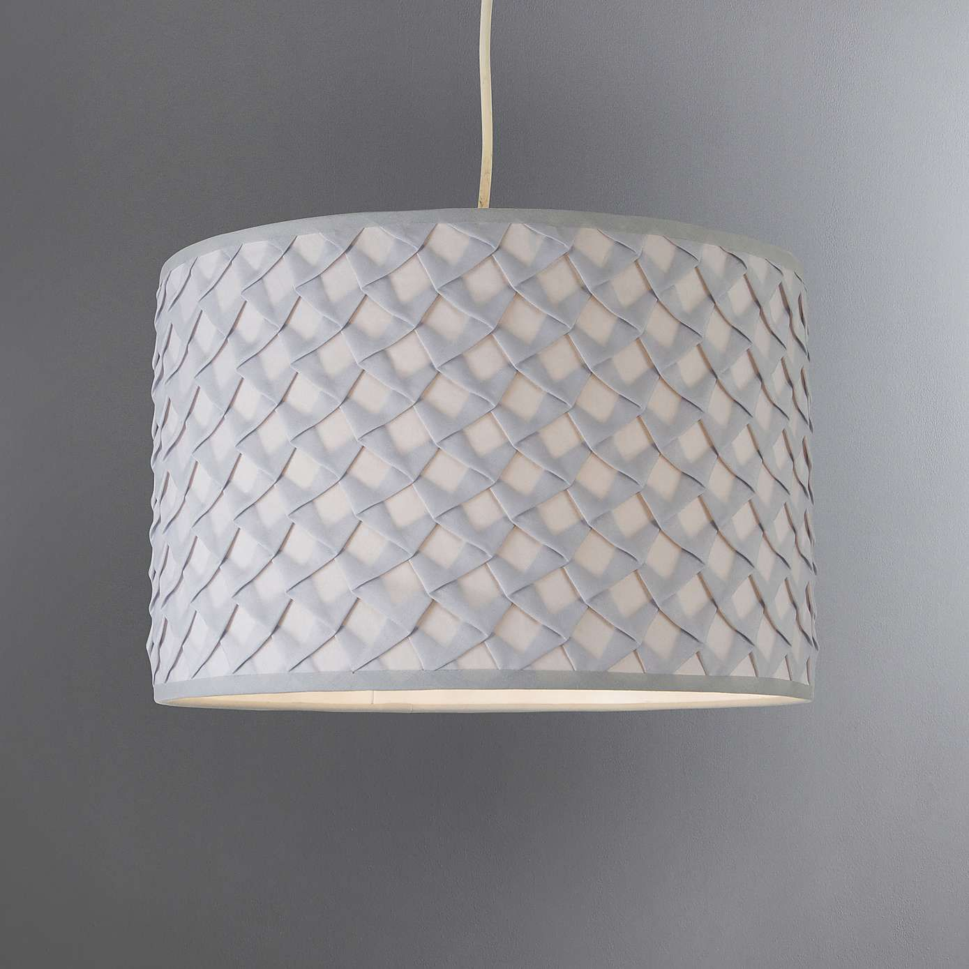 Dunelm Nancy Patterned Grey Fabric Ceiling Light Shade In