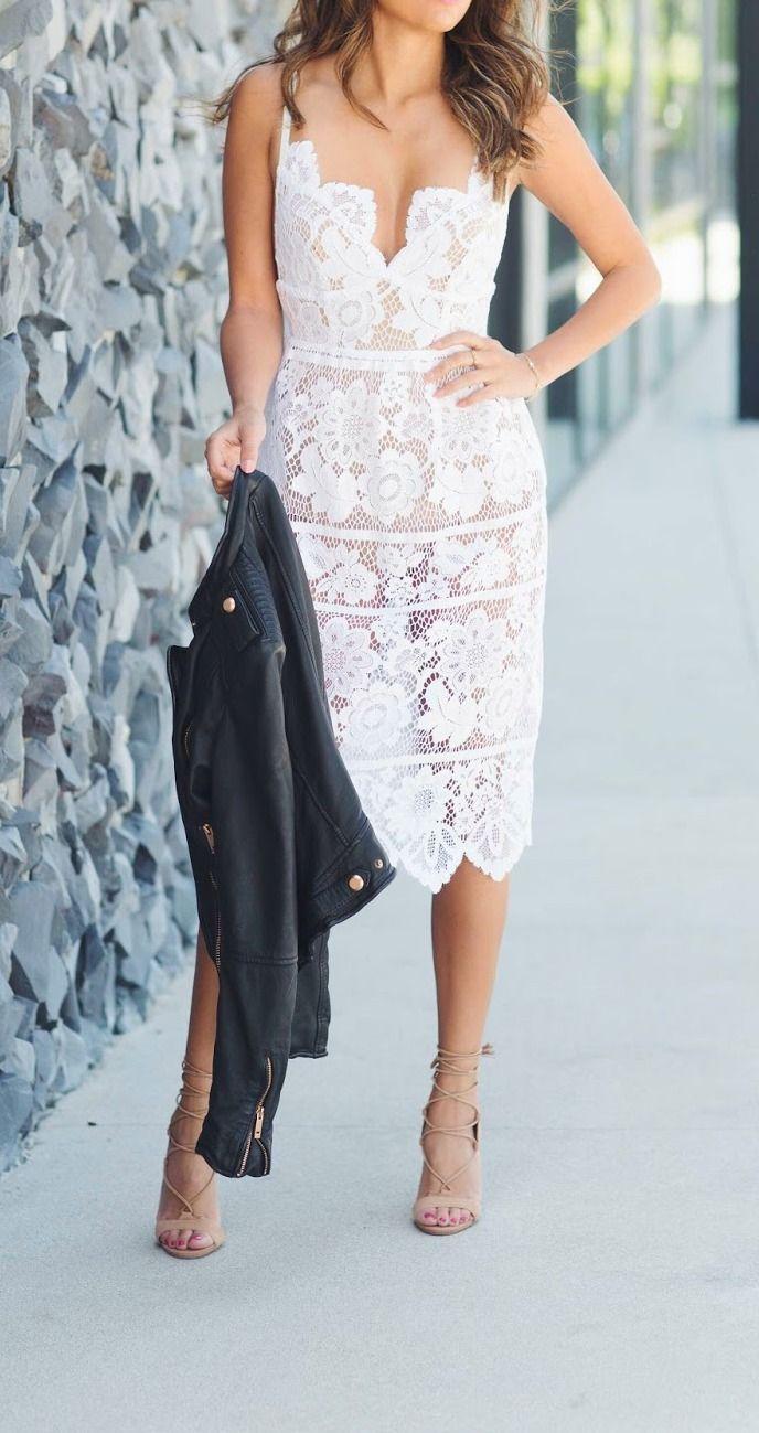 Little White Dress White Lace Midi Dress Trendy Dresses Fashion [ 1299 x 688 Pixel ]