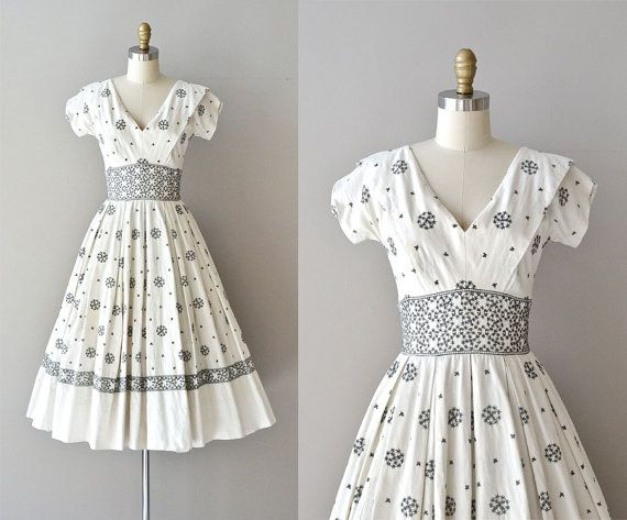 Snowflake dress / vintage 50s dress / cotton 50s by DearGolden, $154.00
