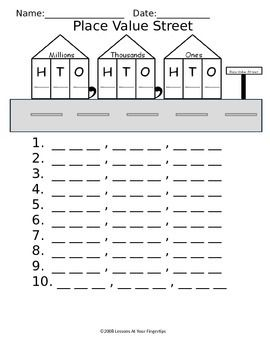 Place Value Street Worksheet To Hundred Millions Place Place