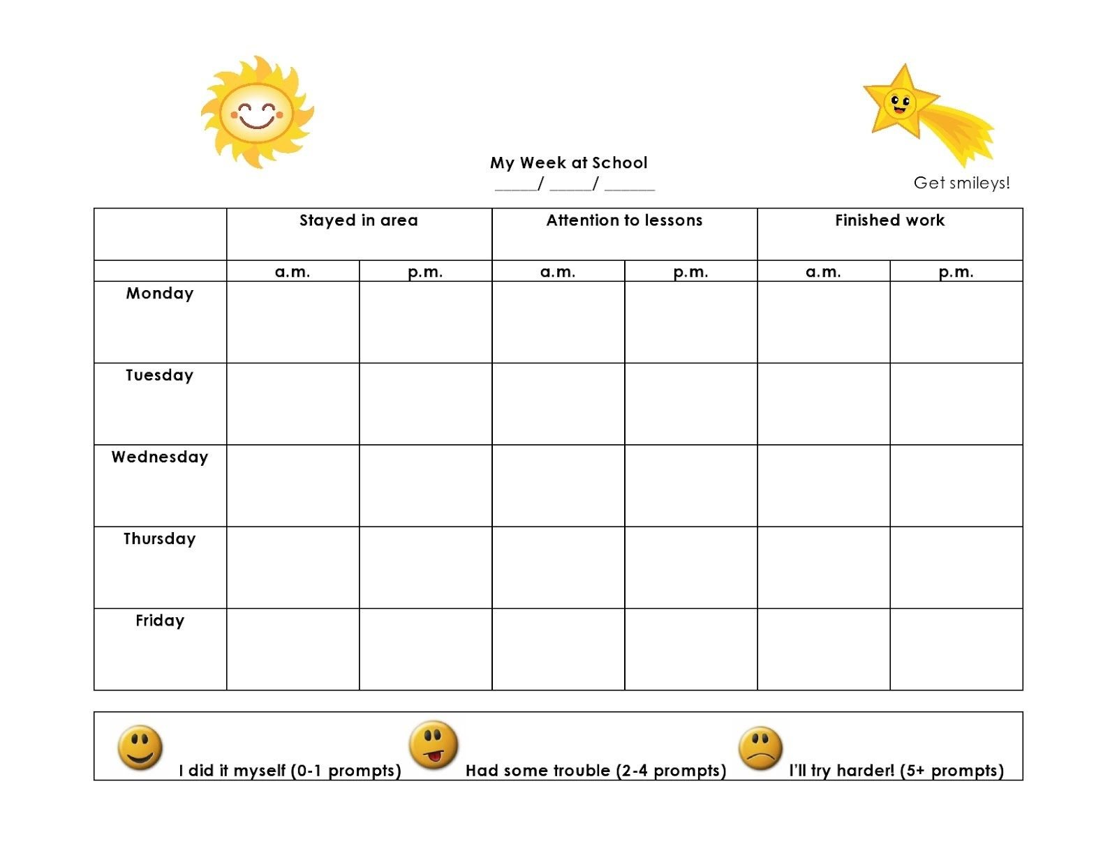 Weekly behavior charts printable for kids activity for Monthly behavior calendar template