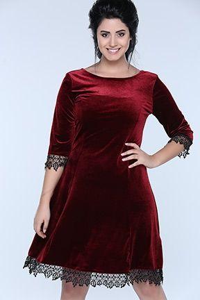 Dantel Detayli Kadife Elbise The Dress Giyim Moda Stilleri