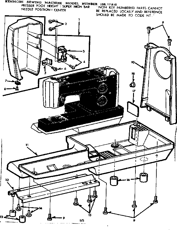 Kenmore 15817810 Vintage Sewing Machines Antique: Sewing Machine Parts Diagram At Downselot.com