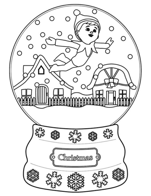 free christmas elf on a shelf coloring page