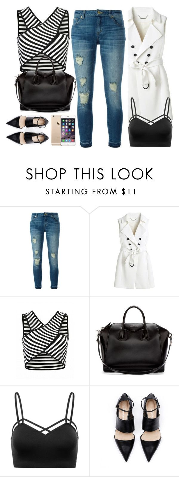 """""""Untitled #858"""" by terryxx ❤ liked on Polyvore featuring MICHAEL Michael Kors, White House Black Market, Givenchy, blackandwhite, strips and stripedshirt"""