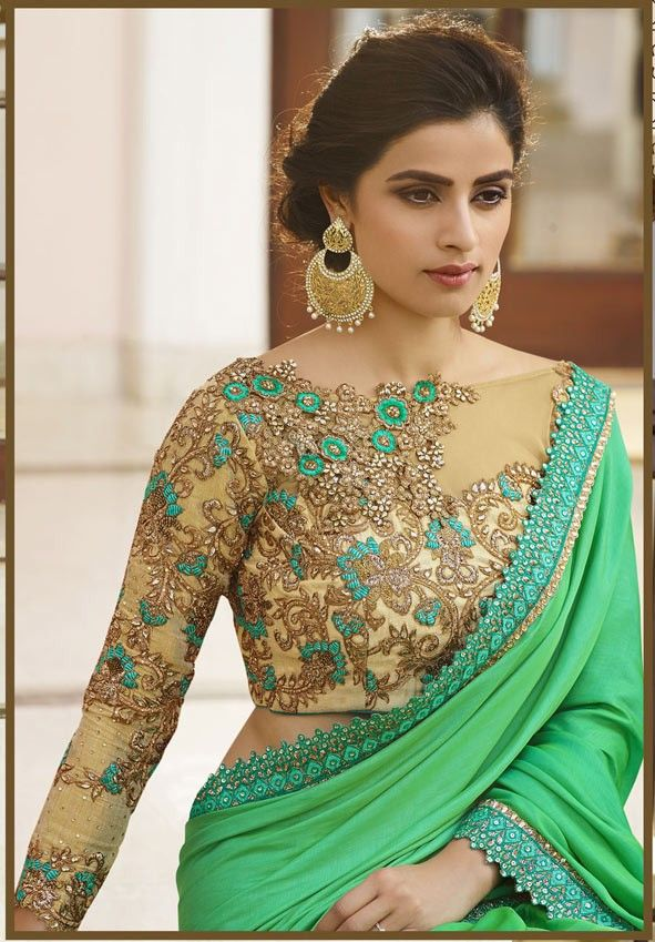 Green Designer Saree   Blouse Designs Saree And Designers