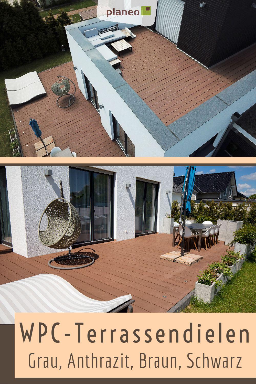 Wpc Terrassendielen Hochwertig Und Robust In Grau Anthrazit Braun Und Schwarz Terrassendielen Terrasse Terrassenbelag