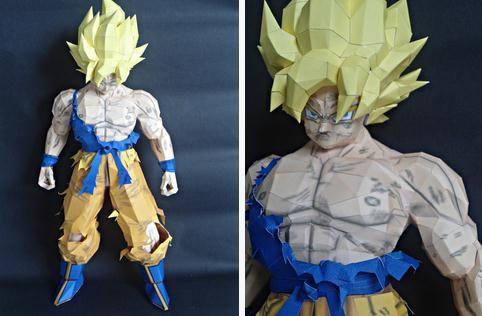 Dragon Ball Z - Goku SSJ2 Paper Model - by Nadask Projects      Model Assembled and Photos by Danillo Nadask  ==      This is the Nadask Project version of Goku SSJ2, from Japanese Anime Dragon Ball Z. The designer is Brazilian and his name is Danillo Nadask. Nice one!