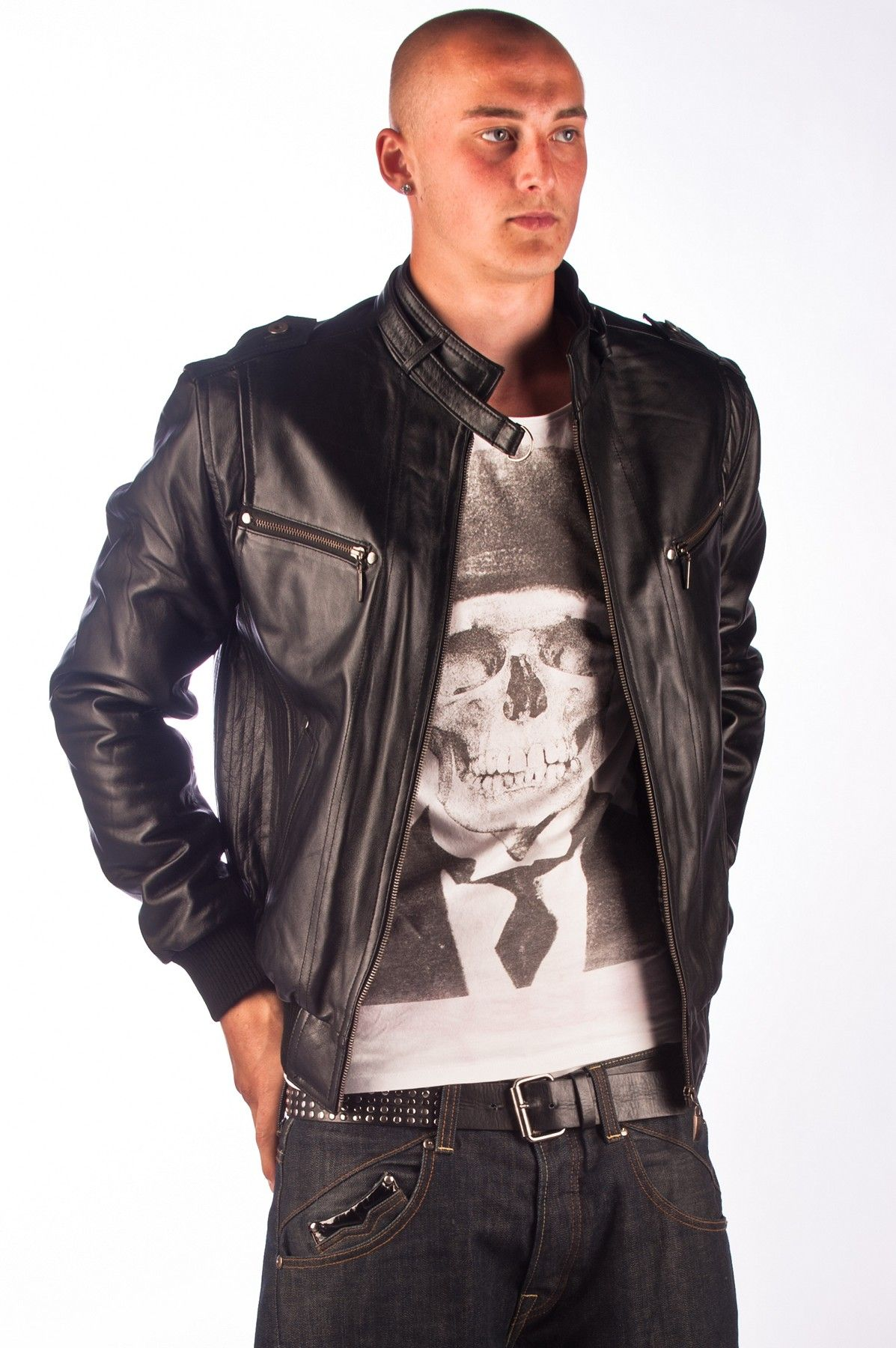 Dante' Mens Black Leather Bomber Jacket | Fashion | Pinterest ...