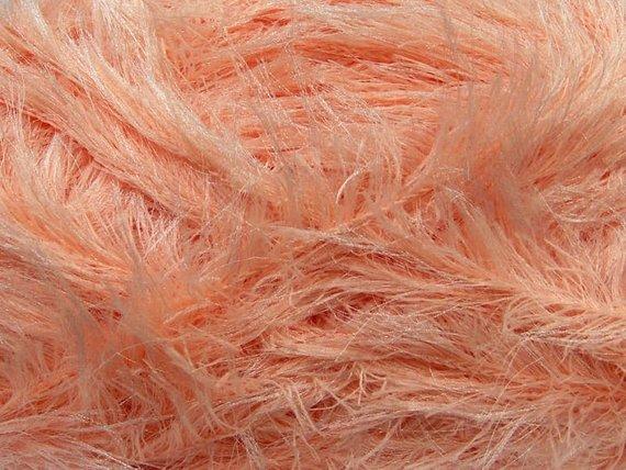 Peach Eyelash Yarn - Salmon - Pink - Fun Fur Yarn - Faux Fur Yarn
