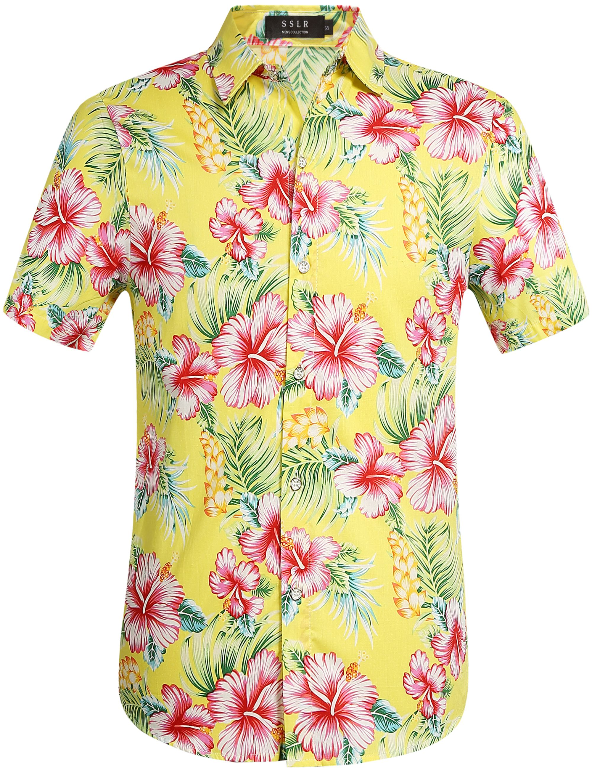 7c90a38c $22.00 Mellow Yellow Tropical Floral Print Hawaiian Shirt # Top summer  outfit