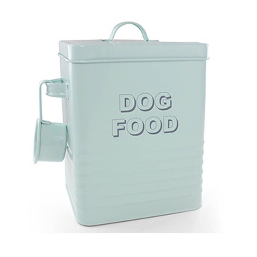 Vintage Style Dried Dog Food Storage Container With Soft Aqua Enamel  Finish, And Handy Matching Scoop.