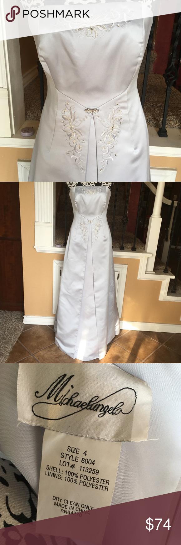 Michelangelo S silver weddingbrides maid dress  My Posh Closet