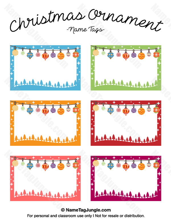 free printable christmas ornament name tags the template can also be used for