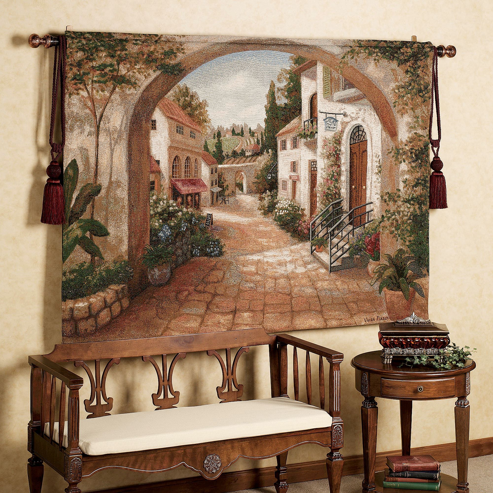 Quaint Town Tapestry | Tapestry, Tuscan style decorating and Iron ...