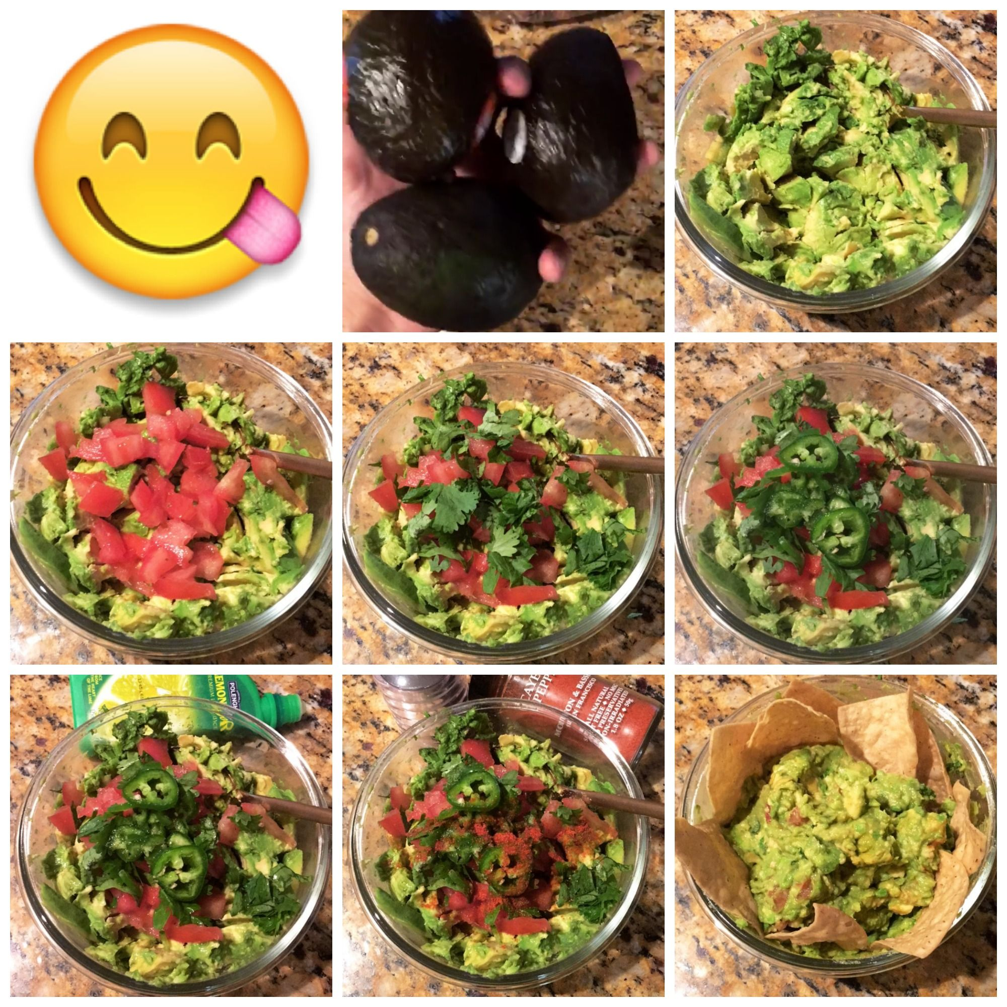 Avocado - 1. mash it, 2. tomato it, 3. cilantro it, 4. jalapeňo it, 5. lime it, 6. spice it, 7. mix it, eat it :)