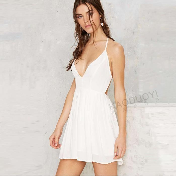 7da737a9ac1 Curve Mini Dresses. Haoduoyi spring summer Fashionable sexy dark V  spaghetti cross backless slim fit dress White Flare Dress
