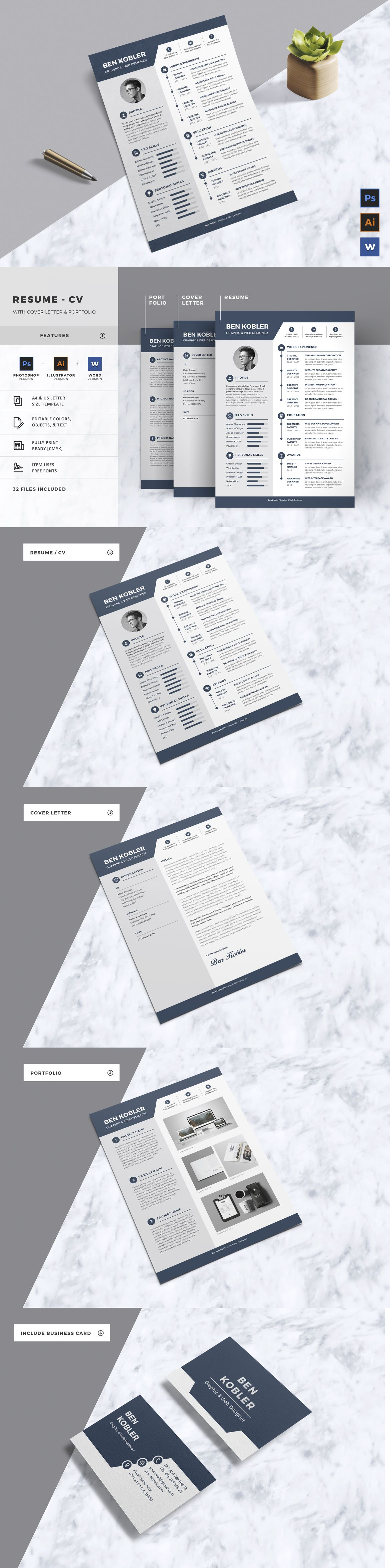 Complete Resume Template AI, EPS, PSD, MS Word | Resume / CV Design ...