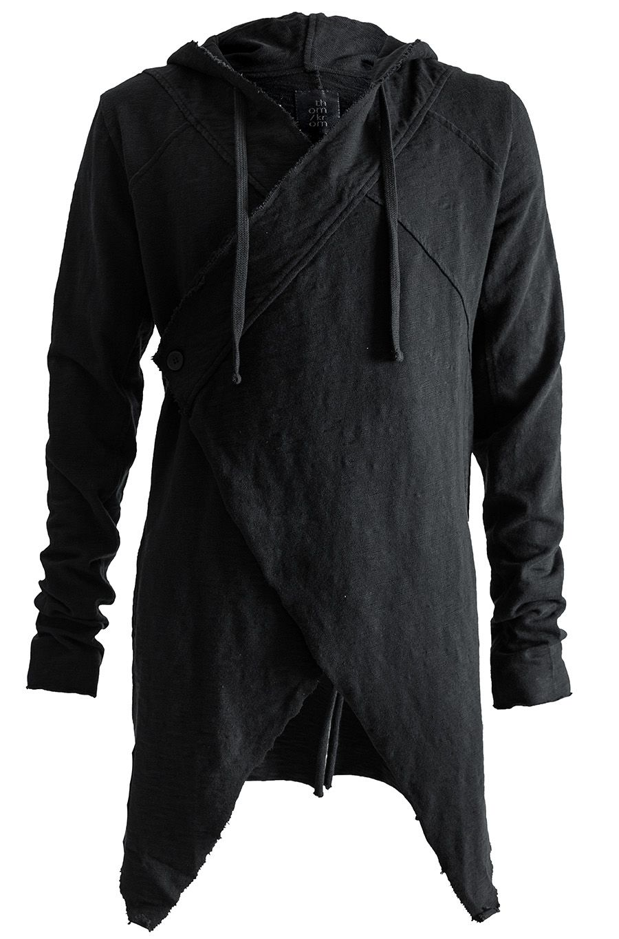 THOM/KROM | Men's black overlapping cross front hooded texture ...