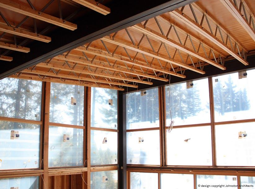 wood ceiling with exposed steel trusses - Google Search ...