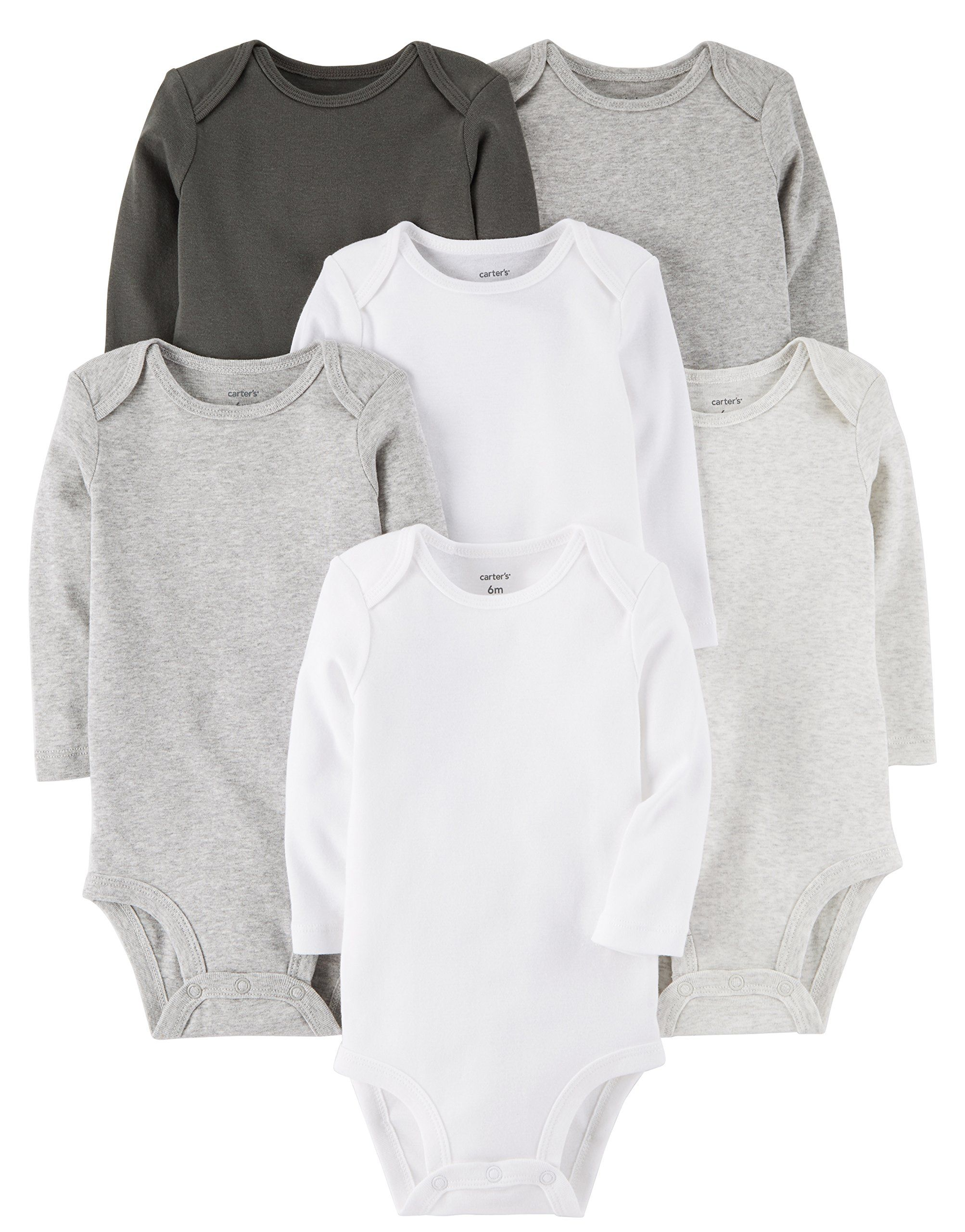 12915ce0e Carters Baby 7Pack LongSleeve Bodysuits Multi/Grey 6 Months *** Click on the