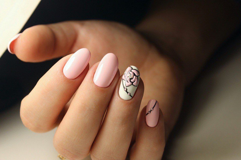 Beautiful Nails 2017 Ideas Of Gentle Oval By Gel Polish Ring Finger Rose Nail Art Shellac Spring Designs For