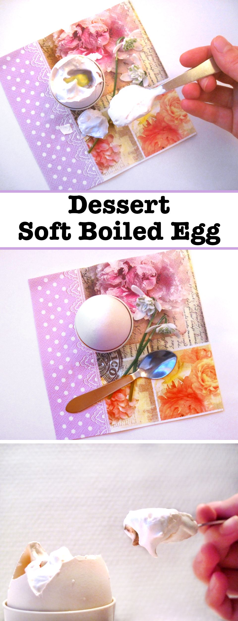 This is a fun brunch dessert disguised as a boiled breakfast egg. When you crack this shell, instead of finding a soft boiled egg, inside you'll find homemade marshmallow fluff and a lemon curd yoke!