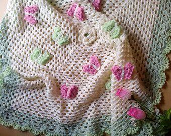 Newborn Cover In Merino Wool With Irons And Birth Crocheted Birthday